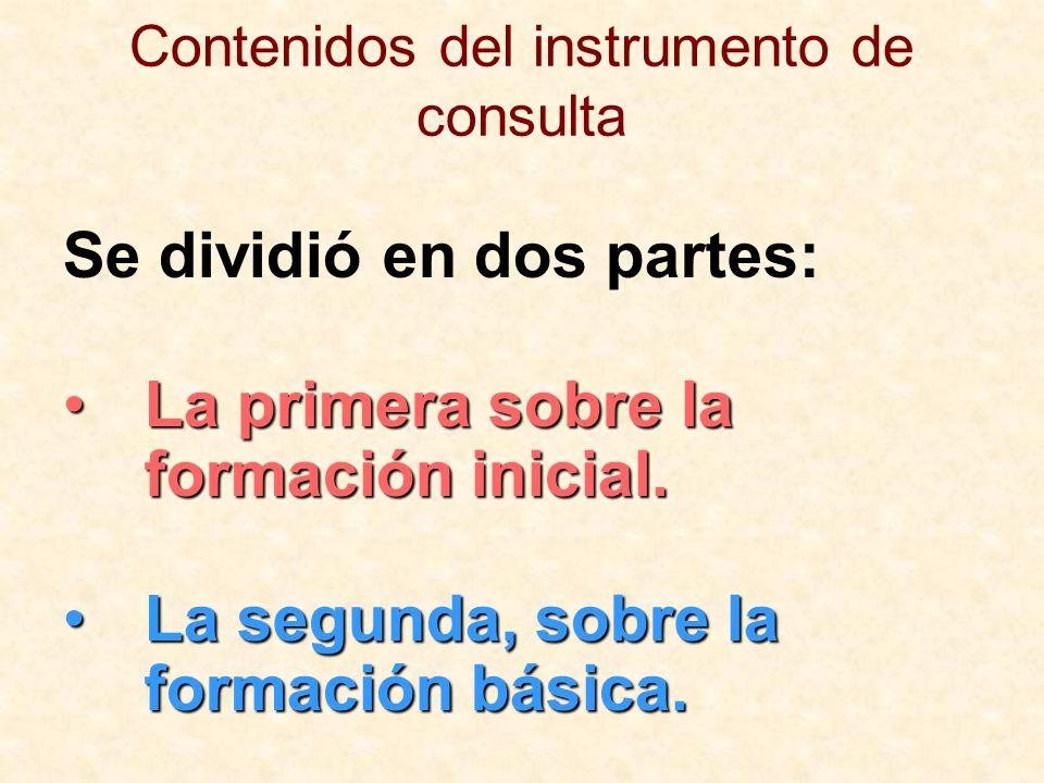 Contenidos del instrumento de consulta Se dividió en dos partes: La primera sobre la formación inicial.La primera sobre la formación inicial. La segun