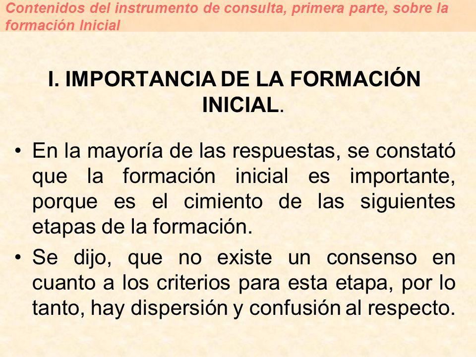I. IMPORTANCIA DE LA FORMACIÓN INICIAL. En la mayoría de las respuestas, se constató que la formación inicial es importante, porque es el cimiento de