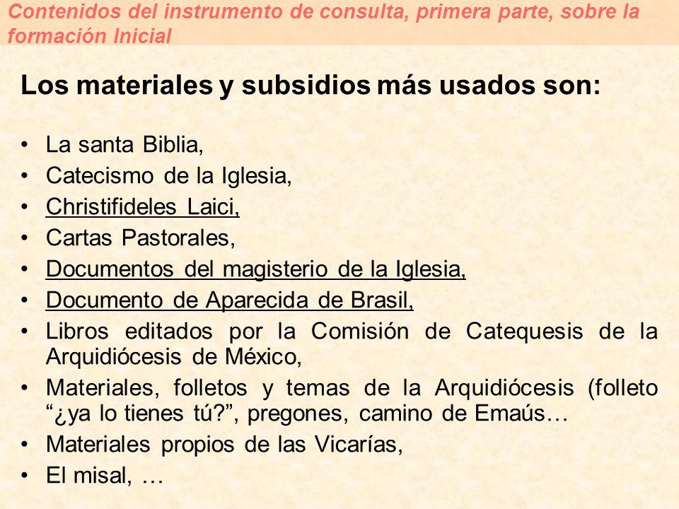 Los materiales y subsidios más usados son: La santa Biblia, Catecismo de la Iglesia, Christifideles Laici, Cartas Pastorales, Documentos del magisteri