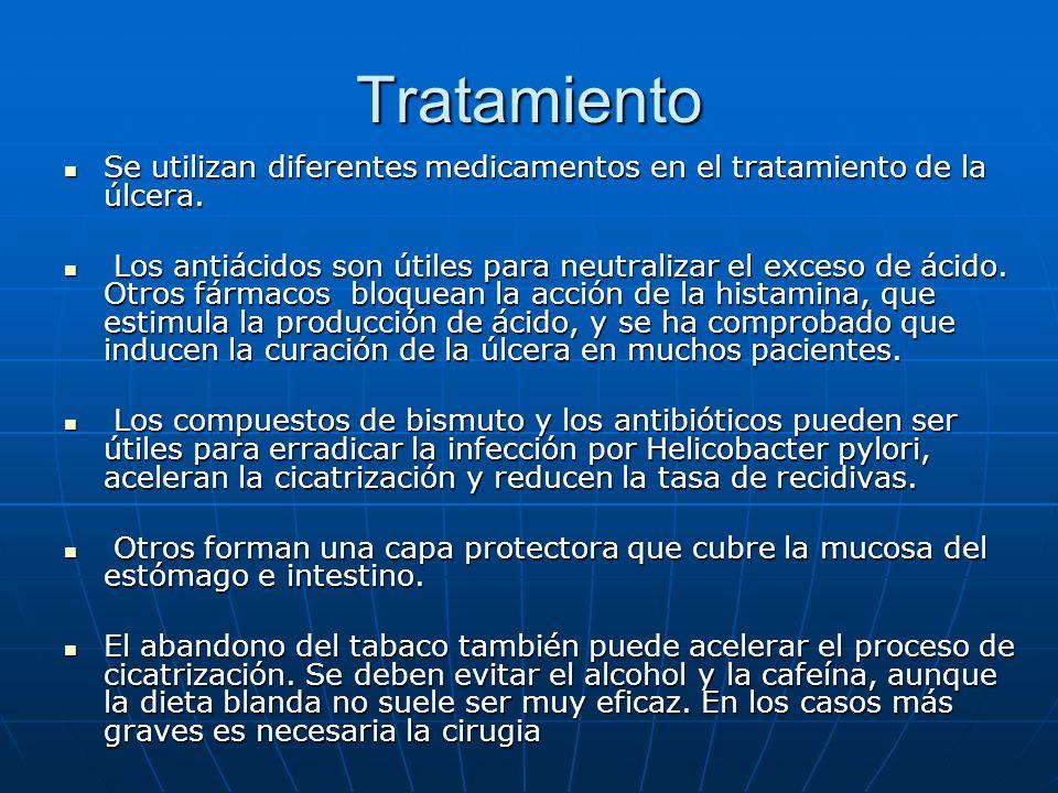 Tratamiento Se utilizan diferentes medicamentos en el tratamiento de la úlcera. Se utilizan diferentes medicamentos en el tratamiento de la úlcera. Lo