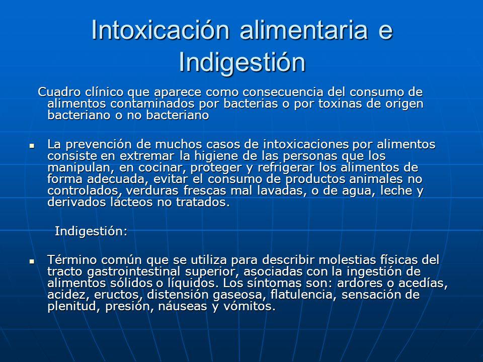 Intoxicación alimentaria e Indigestión Cuadro clínico que aparece como consecuencia del consumo de alimentos contaminados por bacterias o por toxinas