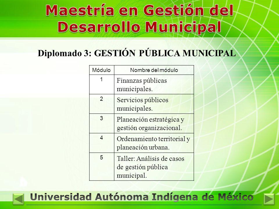 Diplomado 3: GESTIÓN PÚBLICA MUNICIPAL MóduloNombre del módulo 1 Finanzas públicas municipales. 2 Servicios públicos municipales. 3 Planeación estraté