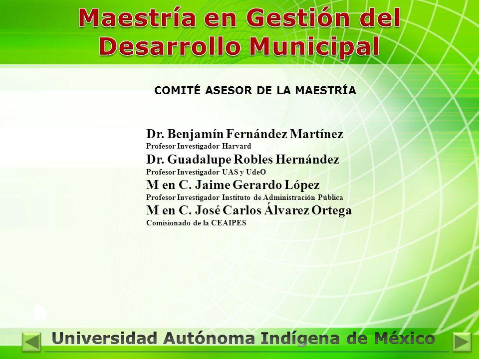 COMITÉ ASESOR DE LA MAESTRÍA Dr. Benjamín Fernández Martínez Profesor Investigador Harvard Dr. Guadalupe Robles Hernández Profesor Investigador UAS y