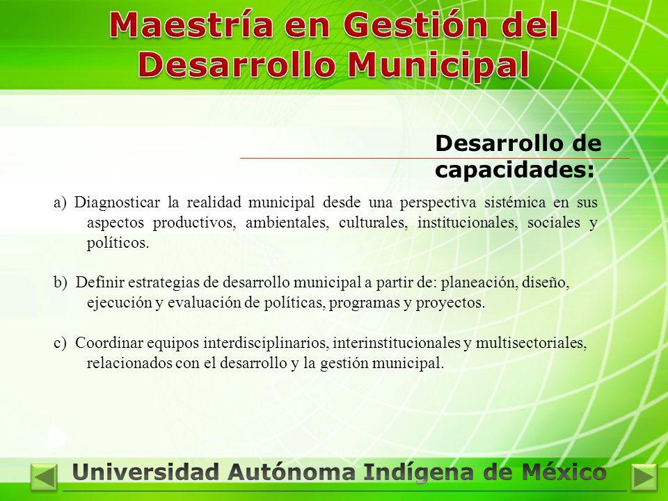 Desarrollo de capacidades: a) Diagnosticar la realidad municipal desde una perspectiva sistémica en sus aspectos productivos, ambientales, culturales, institucionales, sociales y políticos.