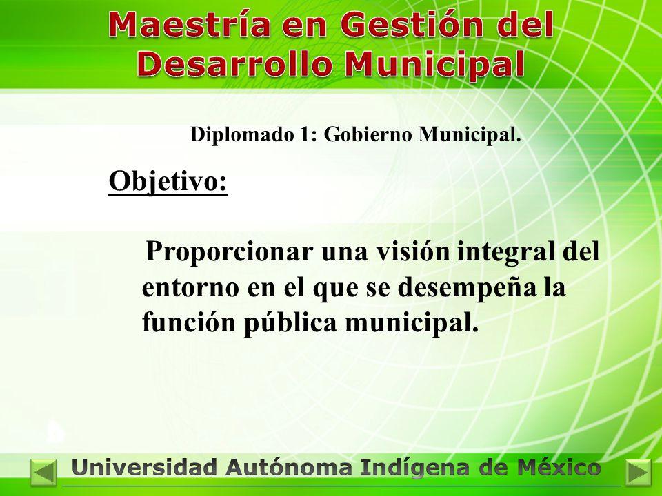 Diplomado 1: Gobierno Municipal. Objetivo: Proporcionar una visión integral del entorno en el que se desempeña la función pública municipal.