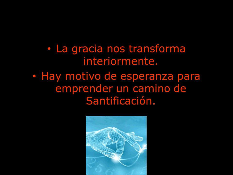 La gracia nos transforma interiormente. Hay motivo de esperanza para emprender un camino de Santificación.
