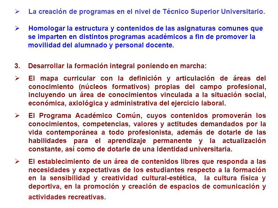 La creación de programas en el nivel de Técnico Superior Universitario. Homologar la estructura y contenidos de las asignaturas comunes que se imparte
