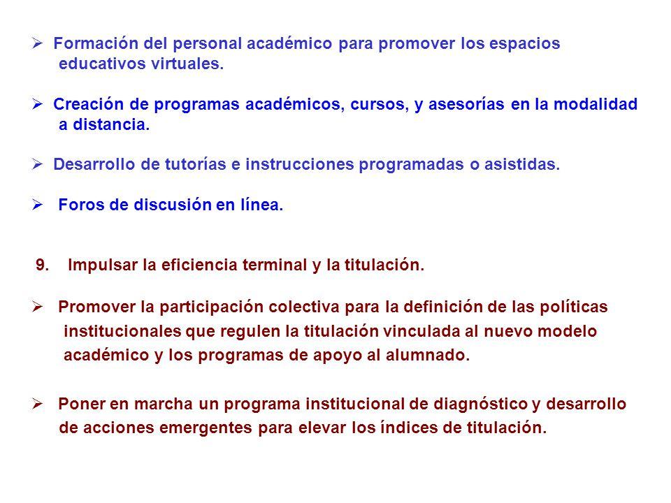 Formación del personal académico para promover los espacios educativos virtuales. Creación de programas académicos, cursos, y asesorías en la modalida