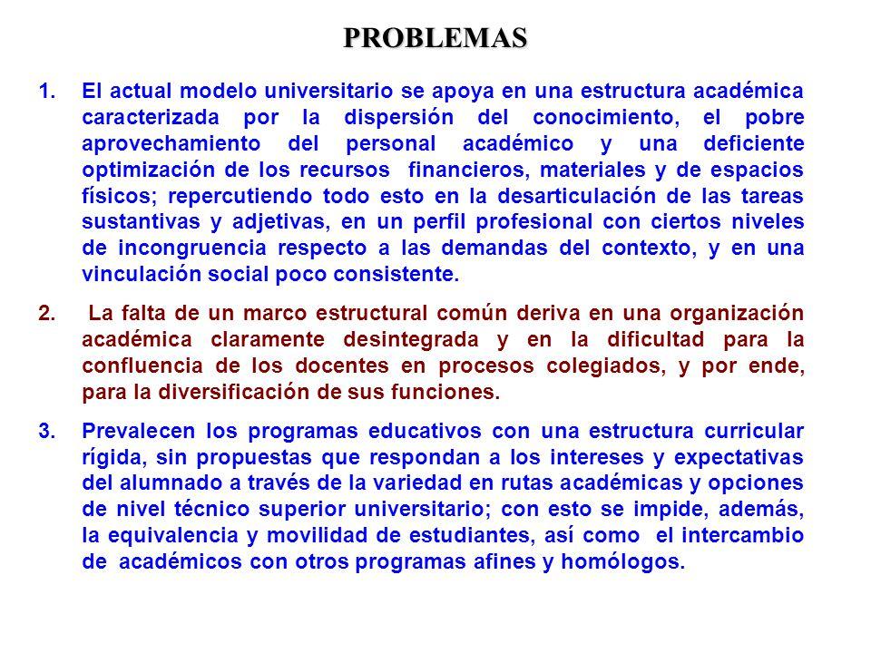 PROBLEMAS 1.El actual modelo universitario se apoya en una estructura académica caracterizada por la dispersión del conocimiento, el pobre aprovechami