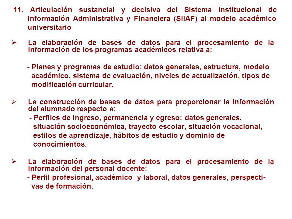 11. Articulación sustancial y decisiva del Sistema Institucional de Información Administrativa y Financiera (SIIAF) al modelo académico universitario