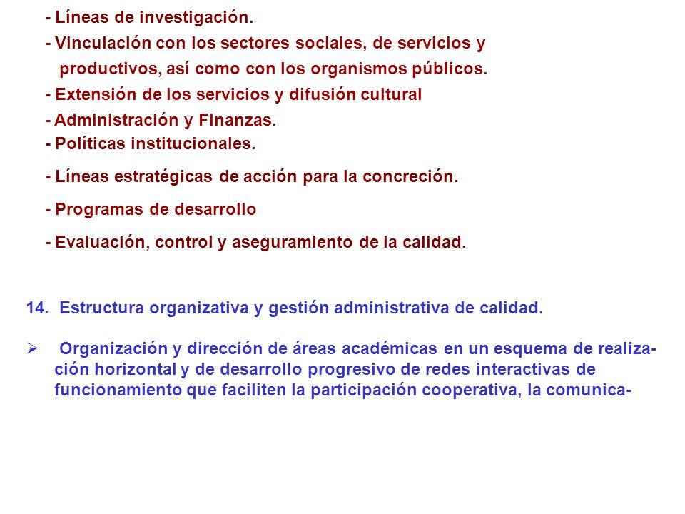 - Líneas de investigación. - Vinculación con los sectores sociales, de servicios y productivos, así como con los organismos públicos. - Extensión de l