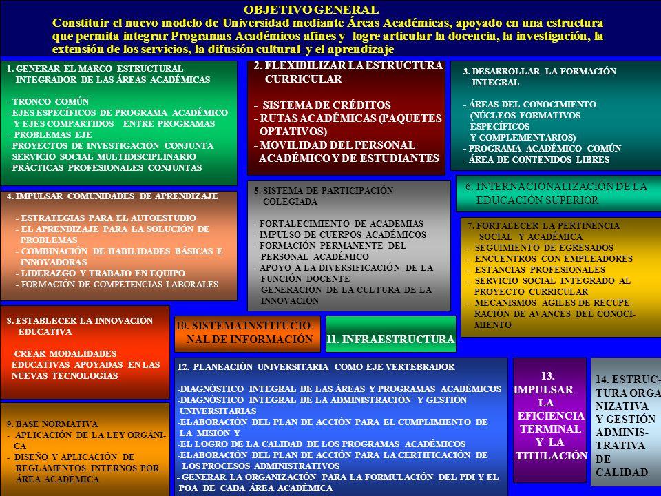 1. GENERAR EL MARCO ESTRUCTURAL INTEGRADOR DE LAS ÁREAS ACADÉMICAS - TRONCO COMÚN - EJES ESPECÍFICOS DE PROGRAMA ACADÉMICO Y EJES COMPARTIDOS ENTRE PR