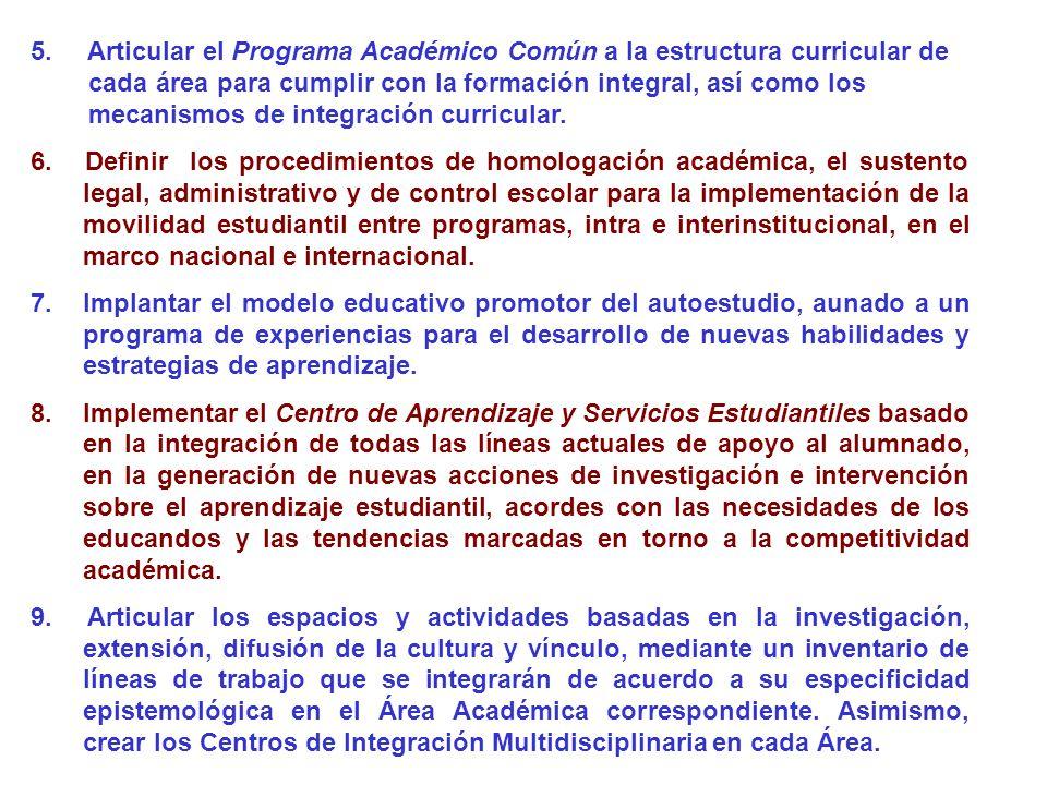 5. Articular el Programa Académico Común a la estructura curricular de cada área para cumplir con la formación integral, así como los mecanismos de in