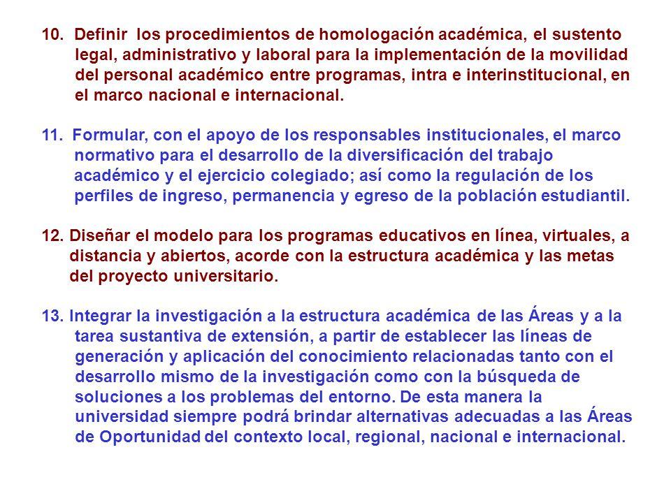 10. Definir los procedimientos de homologación académica, el sustento legal, administrativo y laboral para la implementación de la movilidad del perso