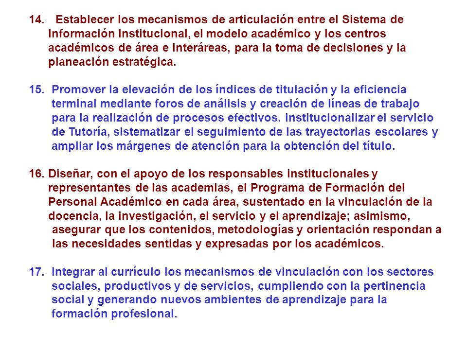 14. Establecer los mecanismos de articulación entre el Sistema de Información Institucional, el modelo académico y los centros académicos de área e in