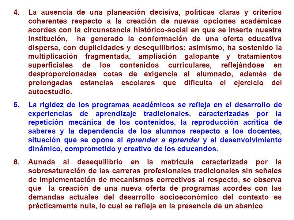 4.La ausencia de una planeación decisiva, políticas claras y criterios coherentes respecto a la creación de nuevas opciones académicas acordes con la