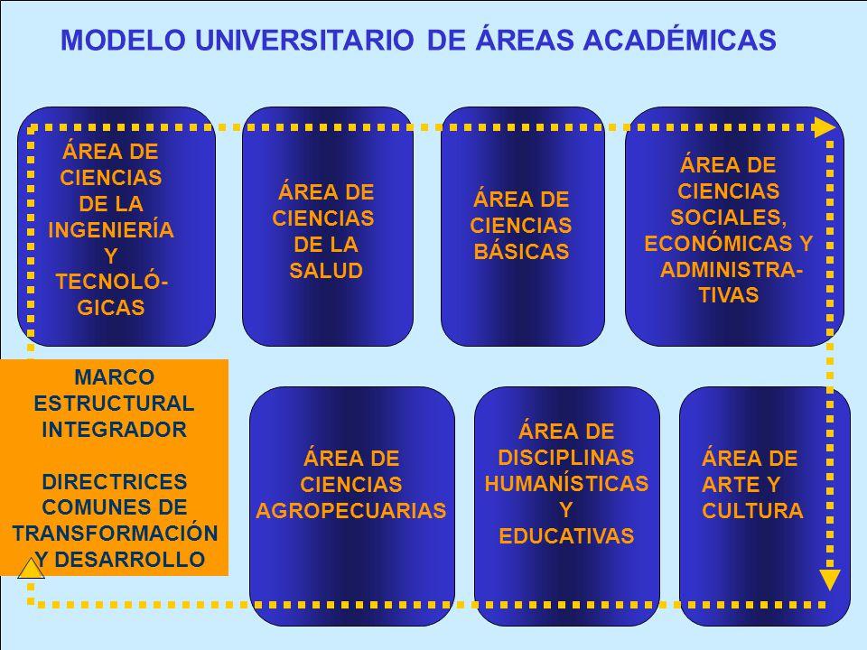 MODELO UNIVERSITARIO DE ÁREAS ACADÉMICAS ÁREA DE CIENCIAS DE LA INGENIERÍA Y TECNOLÓ- GICAS ÁREA DE CIENCIAS DE LA SALUD ÁREA DE CIENCIAS BÁSICAS ÁREA