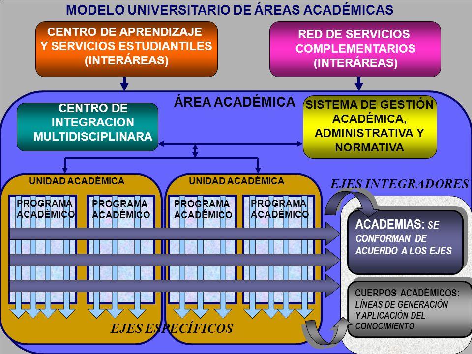 MODELO UNIVERSITARIO DE ÁREAS ACADÉMICAS EJES ESPECÍFICOS CENTRO DE APRENDIZAJE Y SERVICIOS ESTUDIANTILES (INTERÁREAS) RED DE SERVICIOS COMPLEMENTARIO
