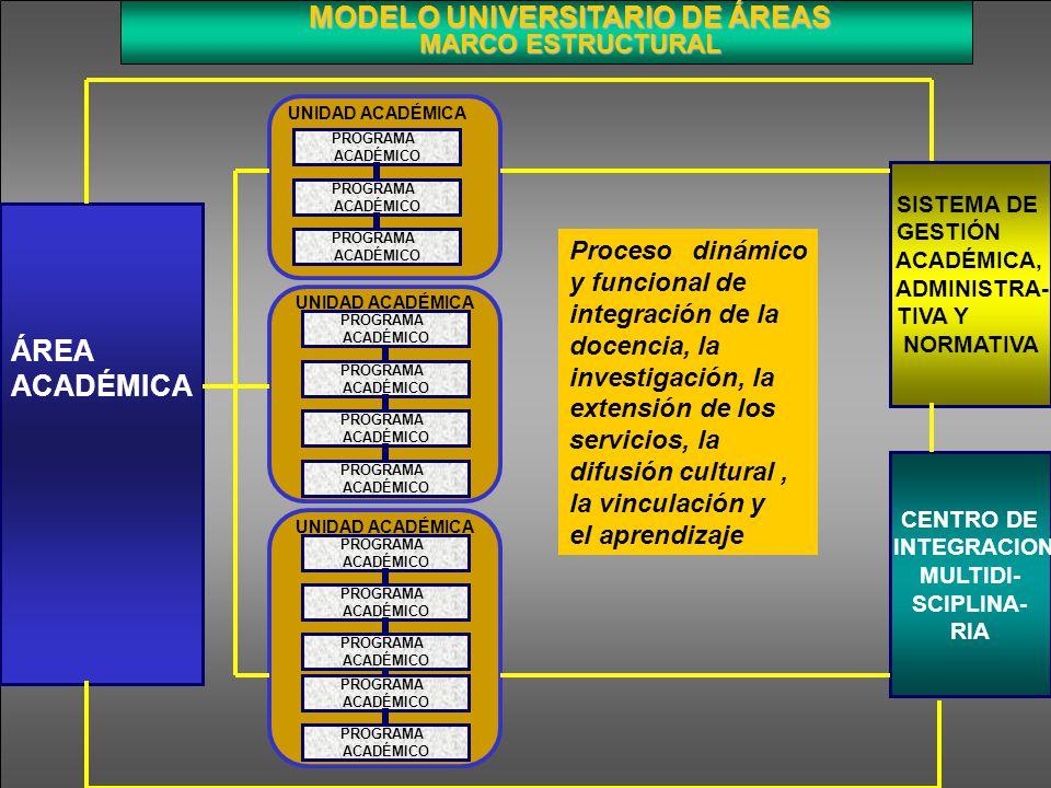 MODELO UNIVERSITARIO DE ÁREAS MARCO ESTRUCTURAL ÁREA ACADÉMICA PROGRAMA ACADÉMICO PROGRAMA ACADÉMICO PROGRAMA ACADÉMICO PROGRAMA ACADÉMICO PROGRAMA AC