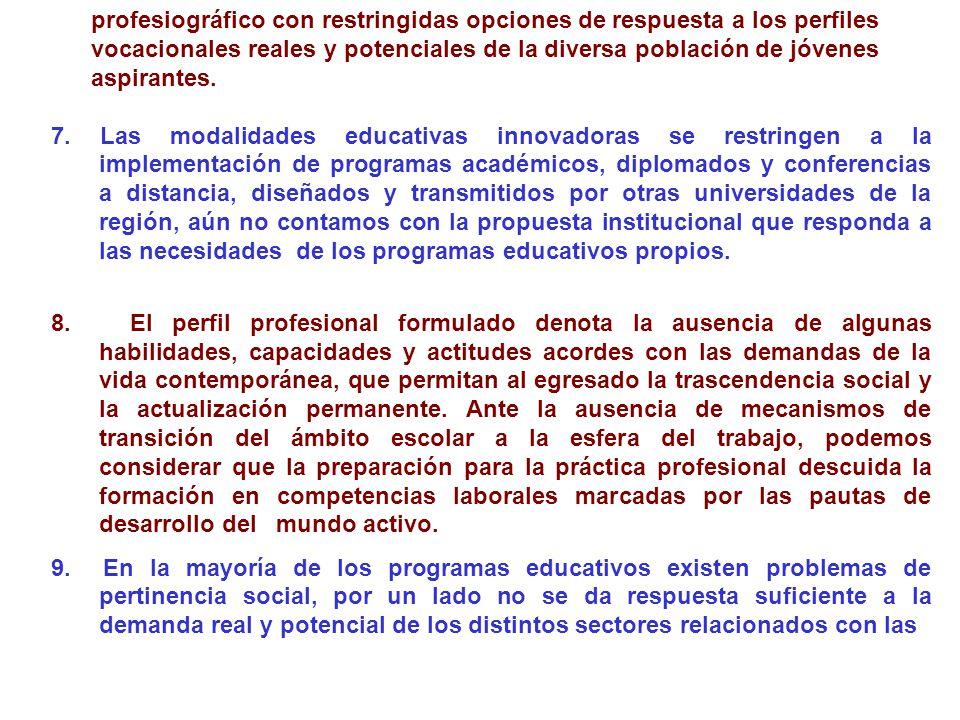 profesiográfico con restringidas opciones de respuesta a los perfiles vocacionales reales y potenciales de la diversa población de jóvenes aspirantes.