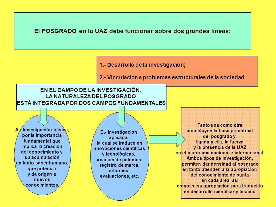 El POSGRADO en la UAZ debe funcionar sobre dos grandes líneas: 1.- Desarrollo de la investigación; 2.- Vinculación a problemas estructurales de la soc