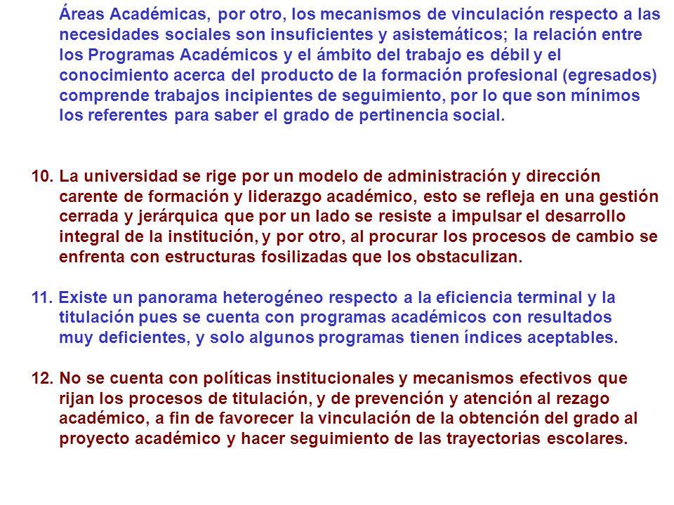 Áreas Académicas, por otro, los mecanismos de vinculación respecto a las necesidades sociales son insuficientes y asistemáticos; la relación entre los