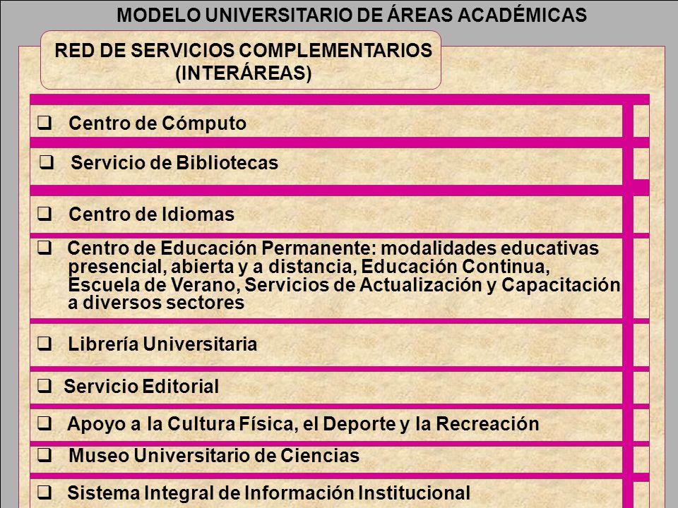 MODELO UNIVERSITARIO DE ÁREAS ACADÉMICAS RED DE SERVICIOS COMPLEMENTARIOS (INTERÁREAS) Centro de Cómputo Servicio de Bibliotecas Centro de Idiomas Ser