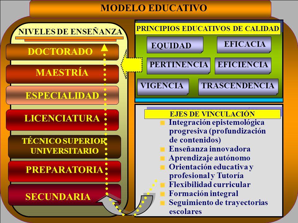 MODELO EDUCATIVO SECUNDARIA PREPARATORIA TÉCNICO SUPERIOR UNIVERSITARIO MAESTRÍA DOCTORADO NIVELES DE ENSEÑANZA EJES DE VINCULACIÓN Integración episte