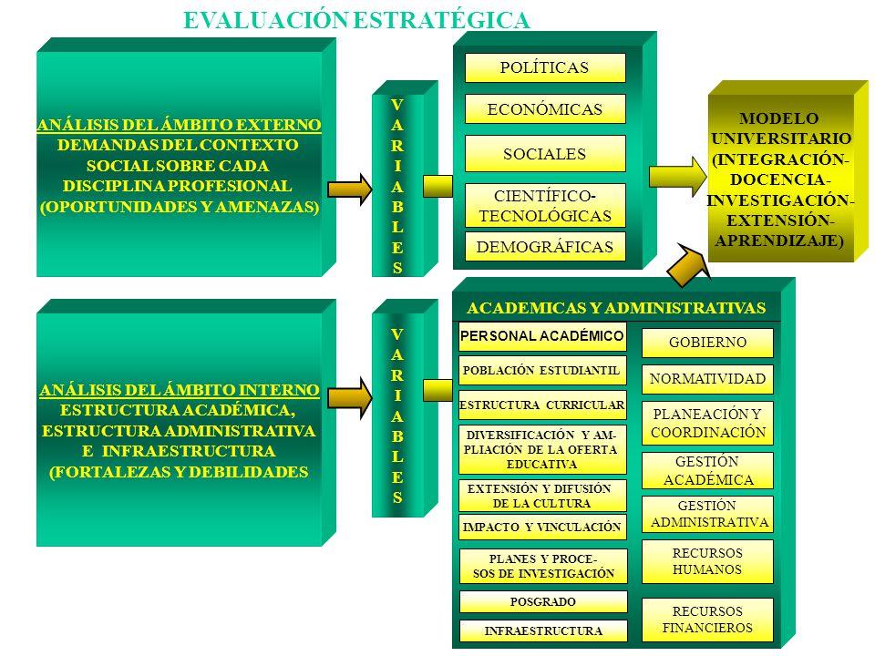EVALUACIÓN ESTRATÉGICA ANÁLISIS DEL ÁMBITO EXTERNO DEMANDAS DEL CONTEXTO SOCIAL SOBRE CADA DISCIPLINA PROFESIONAL (OPORTUNIDADES Y AMENAZAS) ANÁLISIS
