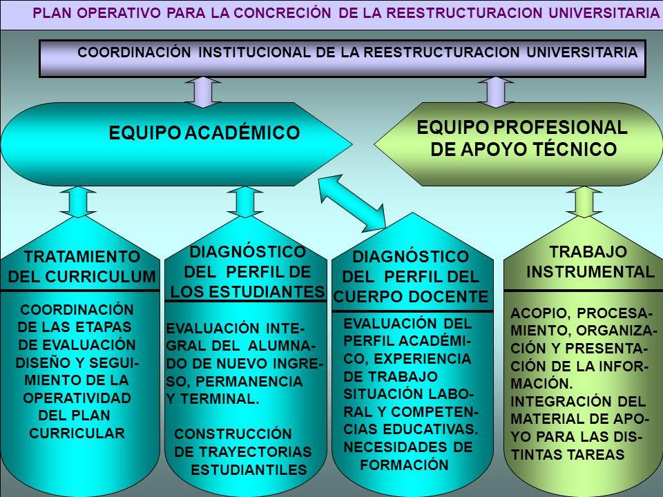PLAN OPERATIVO PARA LA CONCRECIÓN DE LA REESTRUCTURACION UNIVERSITARIA COORDINACIÓN INSTITUCIONAL DE LA REESTRUCTURACION UNIVERSITARIA EQUIPO ACADÉMIC