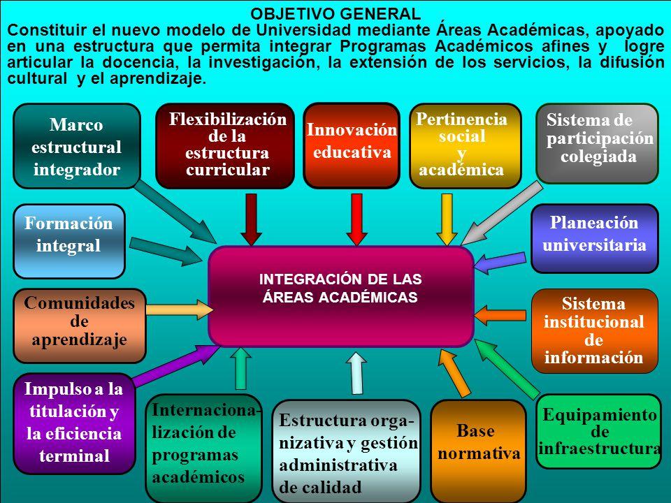 OBJETIVO GENERAL Constituir el nuevo modelo de Universidad mediante Áreas Académicas, apoyado en una estructura que permita integrar Programas Académi