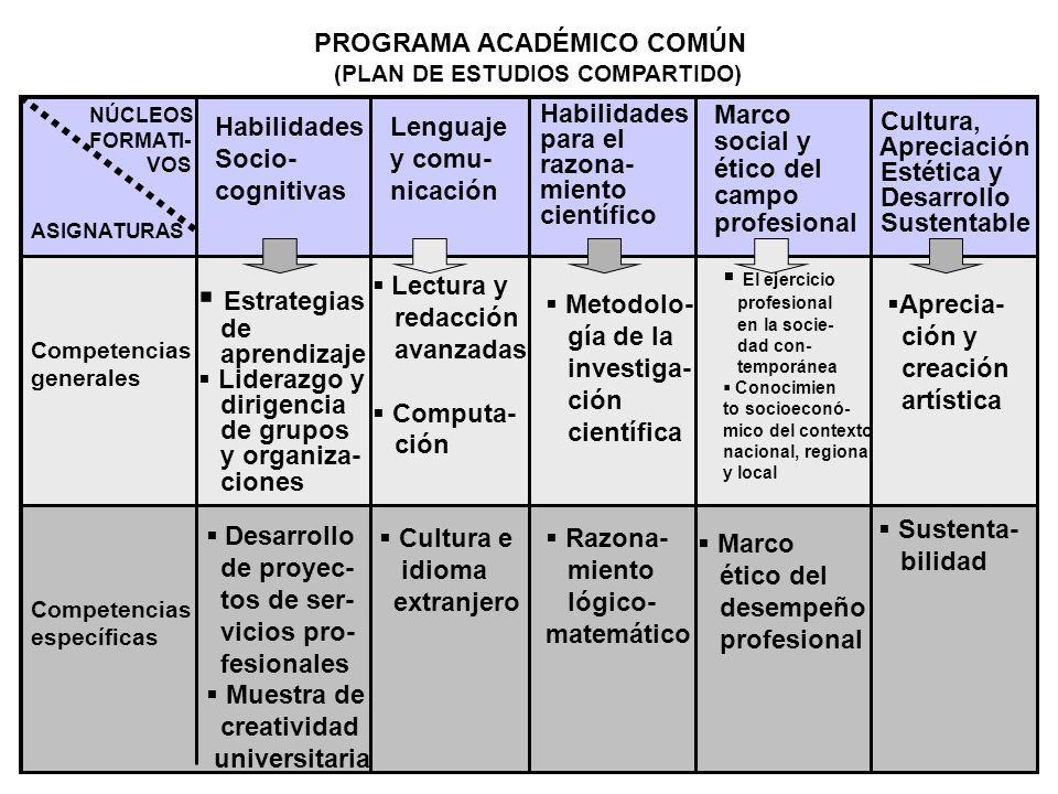 PROGRAMA ACADÉMICO COMÚN (PLAN DE ESTUDIOS COMPARTIDO) NÚCLEOS FORMATI- VOS ASIGNATURAS Habilidades Socio- cognitivas Lenguaje y comu- nicación Habili