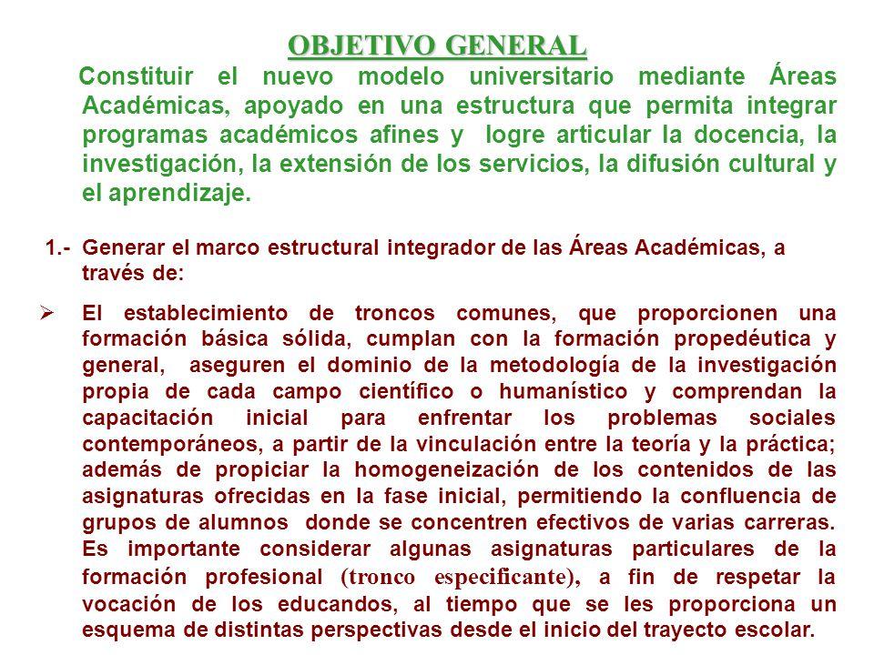 OBJETIVO GENERAL Constituir el nuevo modelo universitario mediante Áreas Académicas, apoyado en una estructura que permita integrar programas académic