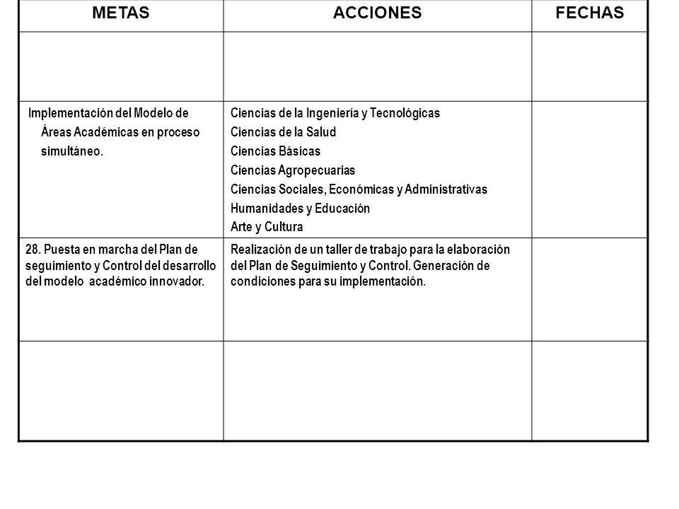 METASACCIONESFECHAS Implementación del Modelo de Áreas Académicas en proceso simultáneo. Ciencias de la Ingeniería y Tecnológicas Ciencias de la Salud