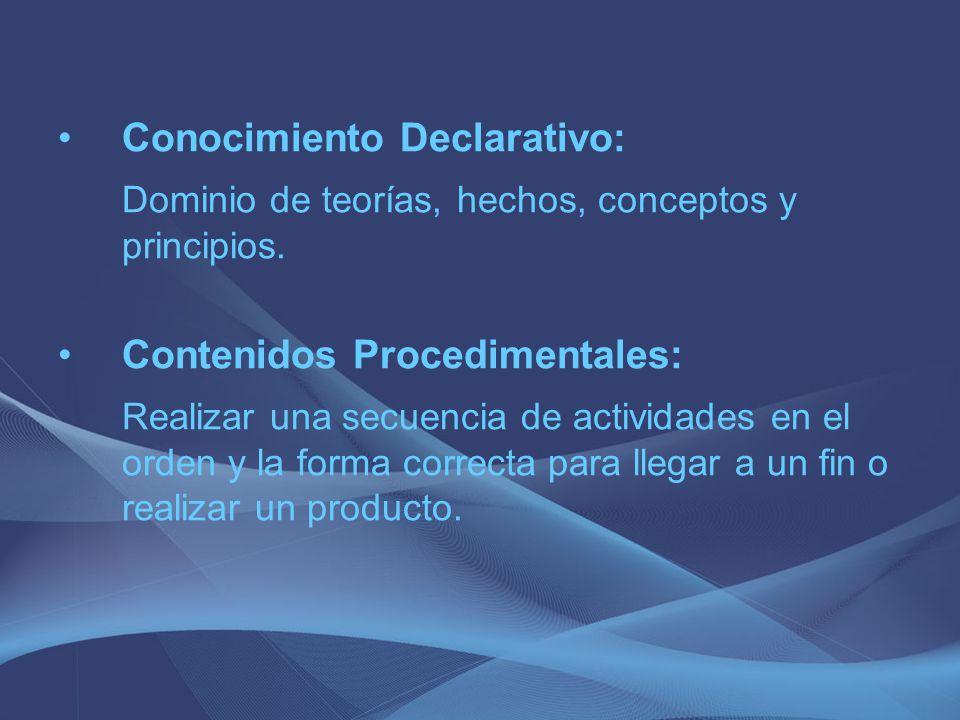 Conocimiento Declarativo: Dominio de teorías, hechos, conceptos y principios. Contenidos Procedimentales: Realizar una secuencia de actividades en el