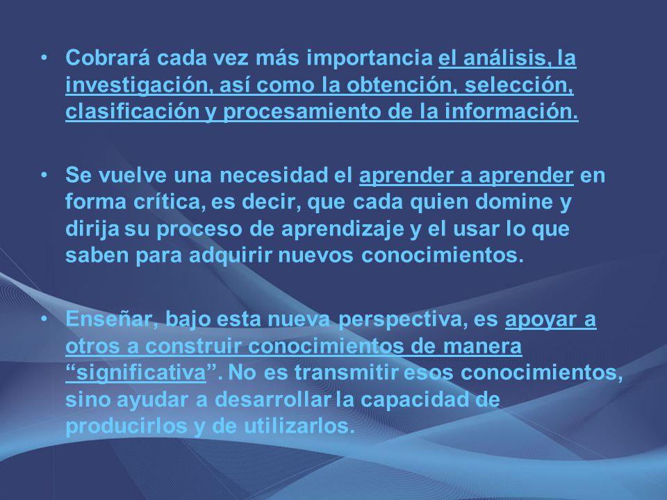 Cobrará cada vez más importancia el análisis, la investigación, así como la obtención, selección, clasificación y procesamiento de la información. Se