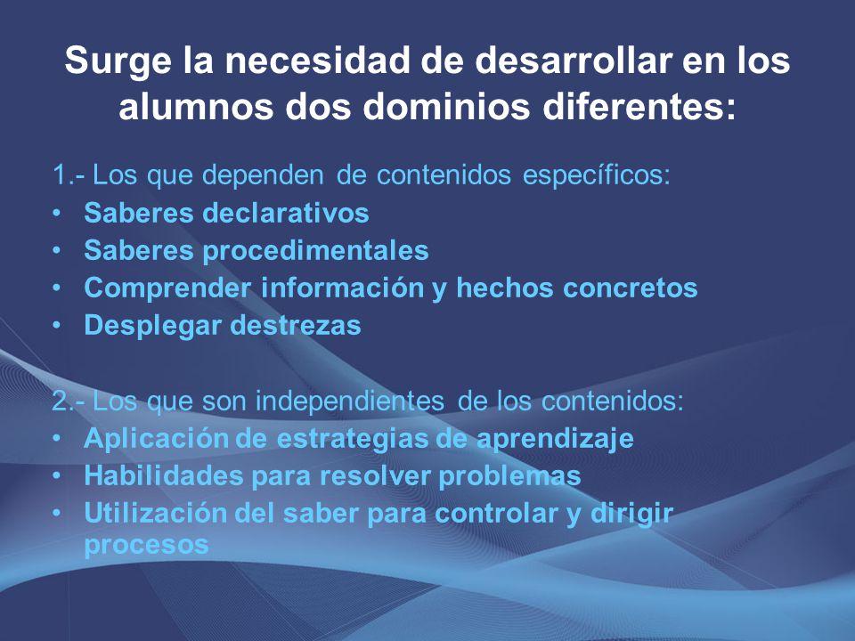 Surge la necesidad de desarrollar en los alumnos dos dominios diferentes: 1.- Los que dependen de contenidos específicos: Saberes declarativos Saberes