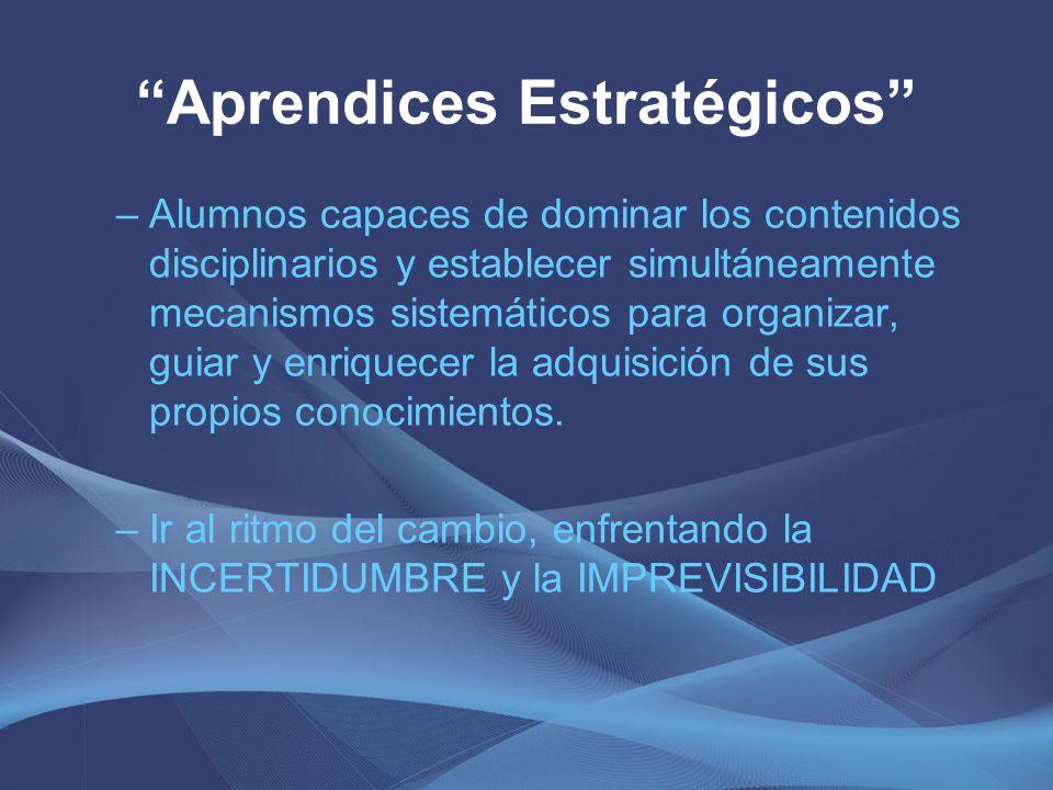 Aprendices Estratégicos –Alumnos capaces de dominar los contenidos disciplinarios y establecer simultáneamente mecanismos sistemáticos para organizar,