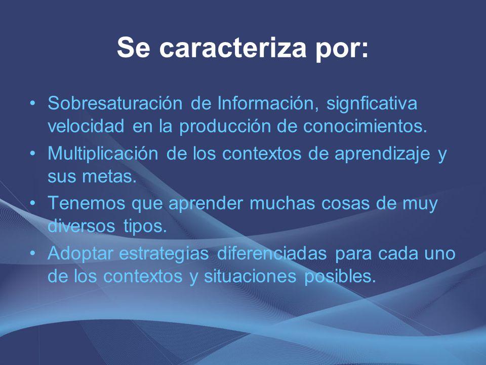 Se caracteriza por: Sobresaturación de Información, signficativa velocidad en la producción de conocimientos. Multiplicación de los contextos de apren
