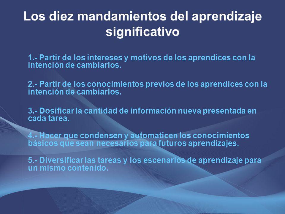 Los diez mandamientos del aprendizaje significativo 1.- Partir de los intereses y motivos de los aprendices con la intención de cambiarlos. 2.- Partir