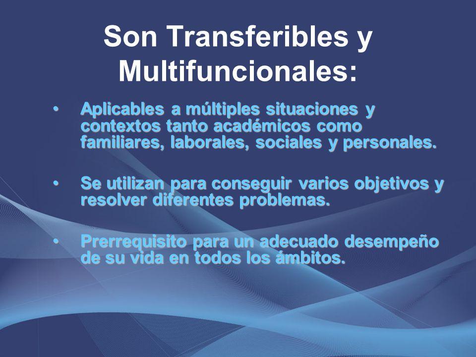 Son Transferibles y Multifuncionales: Aplicables a múltiples situaciones y contextos tanto académicos como familiares, laborales, sociales y personale