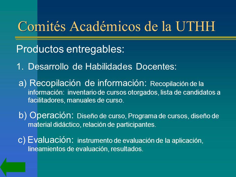 Comités Académicos de la UTHH Productos entregables: 1.Desarrollo de Habilidades Docentes: a) Recopilación de información: Recopilación de la información: inventario de cursos otorgados, lista de candidatos a facilitadores, manuales de curso.