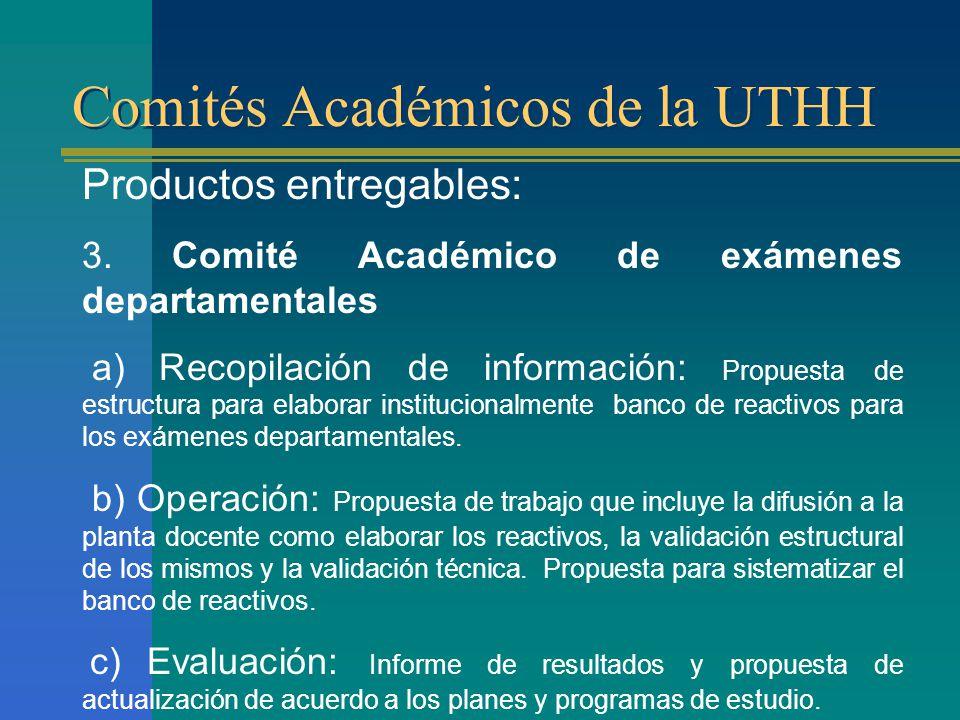 Comités Académicos de la UTHH Productos entregables: 3.