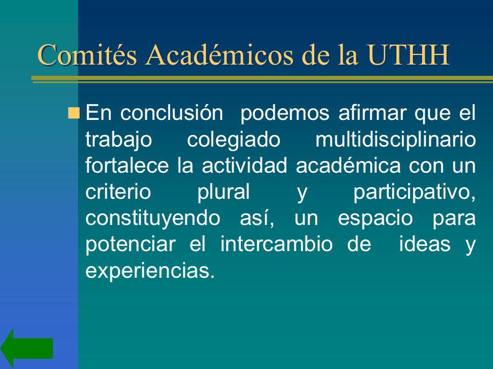 Comités Académicos de la UTHH En conclusión podemos afirmar que el trabajo colegiado multidisciplinario fortalece la actividad académica con un criterio plural y participativo, constituyendo así, un espacio para potenciar el intercambio de ideas y experiencias.