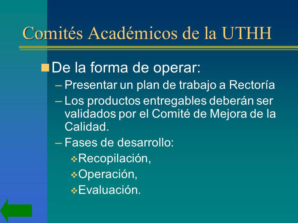 Comités Académicos de la UTHH De la forma de operar: –Presentar un plan de trabajo a Rectoría –Los productos entregables deberán ser validados por el Comité de Mejora de la Calidad.