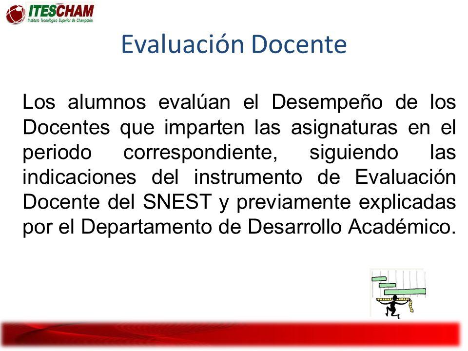 Los alumnos evalúan el Desempeño de los Docentes que imparten las asignaturas en el periodo correspondiente, siguiendo las indicaciones del instrument