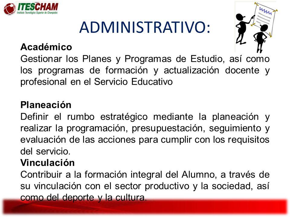 ADMINISTRATIVO: Académico Gestionar los Planes y Programas de Estudio, así como los programas de formación y actualización docente y profesional en el