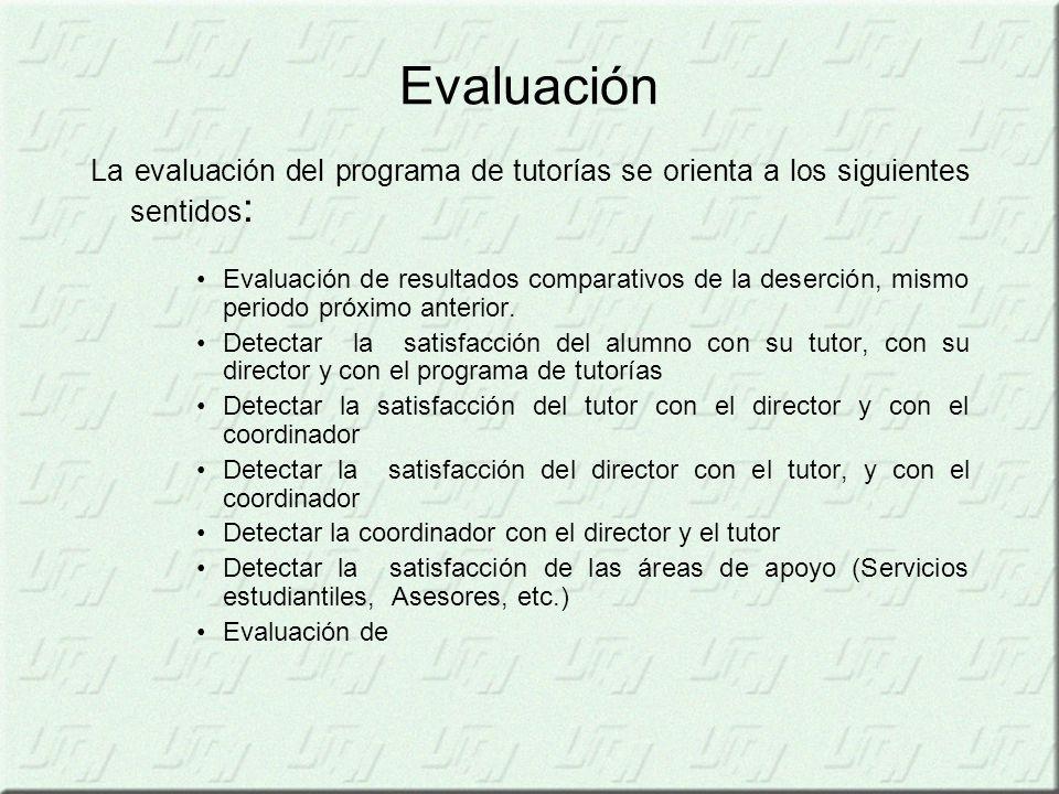Evaluación La evaluación del programa de tutorías se orienta a los siguientes sentidos : Evaluación de resultados comparativos de la deserción, mismo periodo próximo anterior.