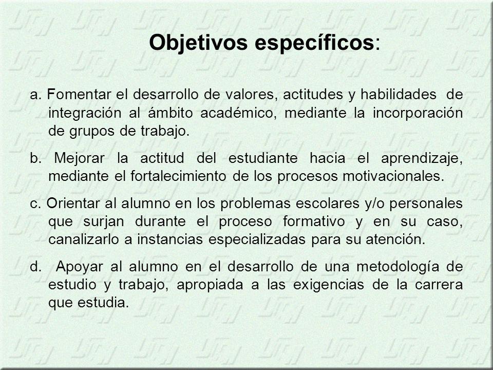 a. Fomentar el desarrollo de valores, actitudes y habilidades de integración al ámbito académico, mediante la incorporación de grupos de trabajo. b. M