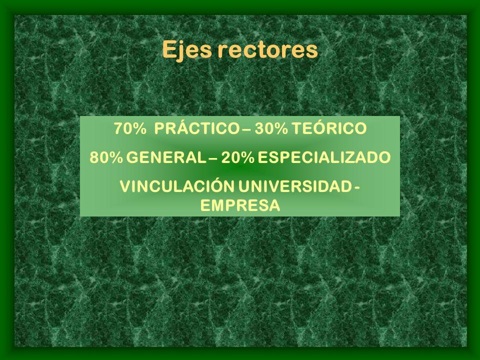 Ejes rectores 70% PRÁCTICO – 30% TEÓRICO 80% GENERAL – 20% ESPECIALIZADO VINCULACIÓN UNIVERSIDAD - EMPRESA